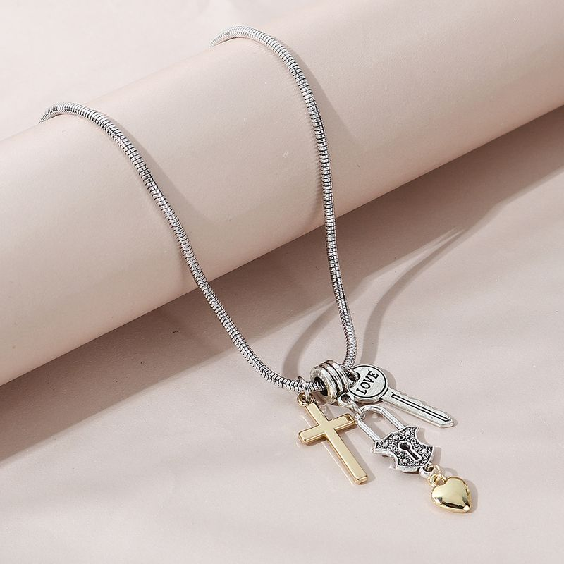 fashion creative wild personality exaggerated cross peach heart necklace NHPS258127