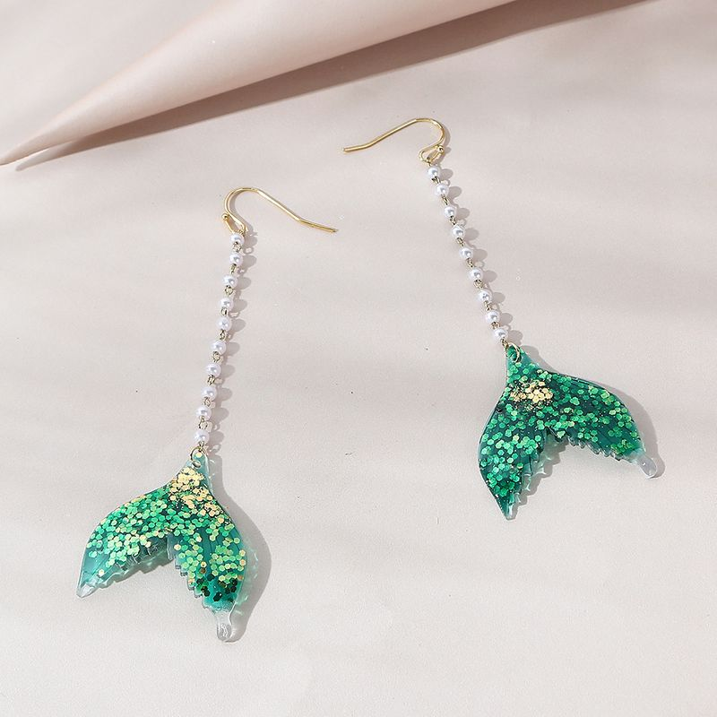 Korean  creative exaggerated personality fashion  mermaid fishtail pearl earrings NHPS258130