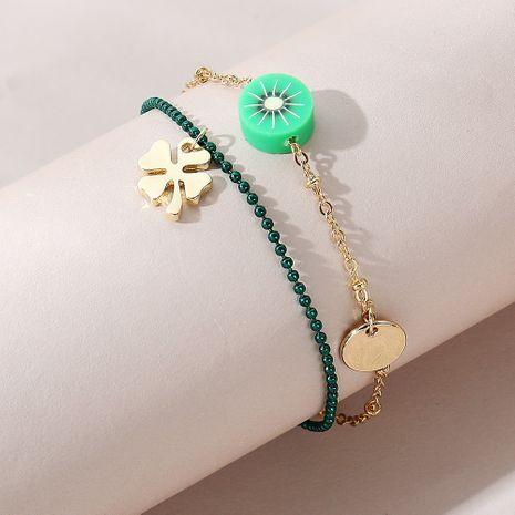 Bracelet de cheville double couche trèfle à quatre feuilles de mode sauvage coréen NHPS258137's discount tags
