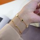 Fashion retro minimalist niche titanium steel 18K real gold titanium steel bracelet for women NHOK258152