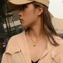 Fashion retro threedimensional love heart titanium steel 18K real gold necklace clavicle chain NHOK258161
