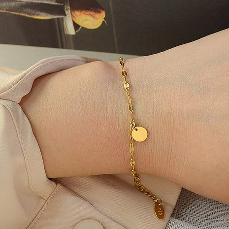 Fashion retro trend minimalist disc titanium steel 18K real gold bracelet  NHOK258162's discount tags