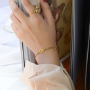 niche simple versatile smiley face titanium steel 18K real gold bracelet  NHOK258164