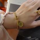 Fashion new niche retro coin head multilayered titanium steel bracelet  NHOK258165
