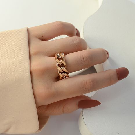retro simple chain hollow twist open titanium steel rings wholesale NHOK258169's discount tags