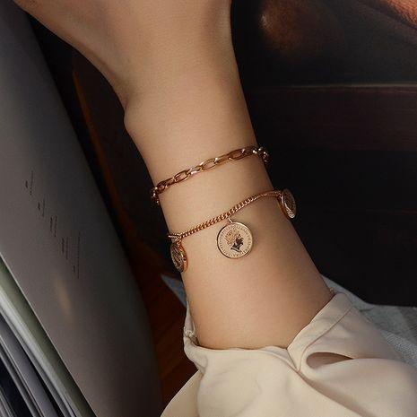 Bracelet hypoallergénique en acier titane 18 carats avec pièce de monnaie rétro de niche pour femme NHOK258176's discount tags