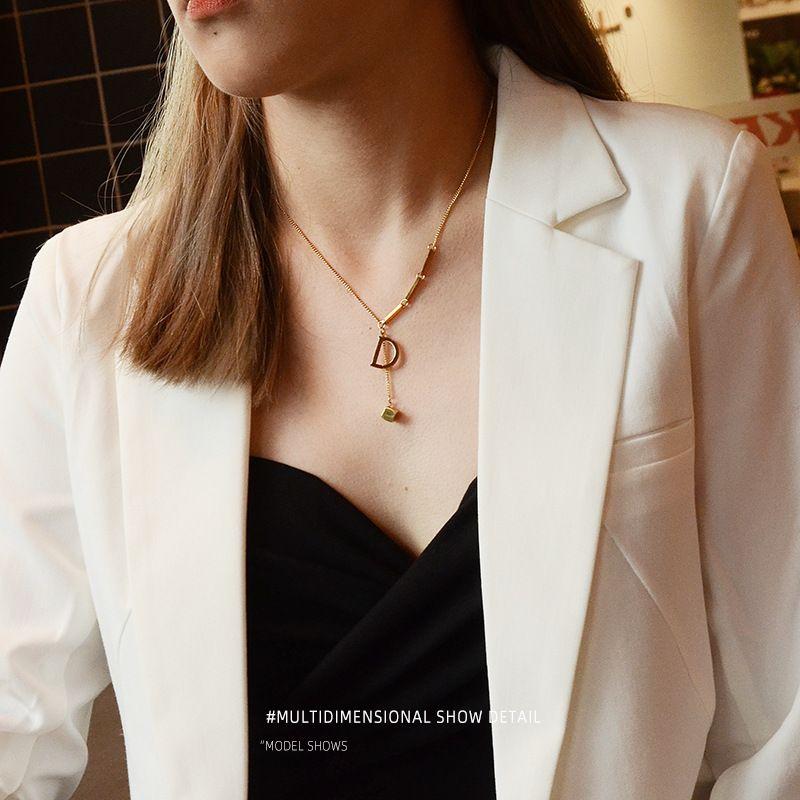 Fashion simple D-shaped small square titanium steel 18K pendant necklace for women NHOK258178