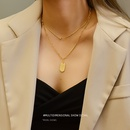 Fashion niche simple doublelayer titanium steel 18K does not fade necklace for women NHOK258186