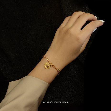 Niche mode marque ronde pendentif en acier au titane plaqué bracelet hypoallergénique 18K pour femmes bijoux NHOK258187's discount tags