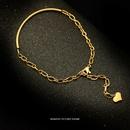 niche new fashion simple heartshaped titanium steel plated 18K bracelet for women NHOK258188