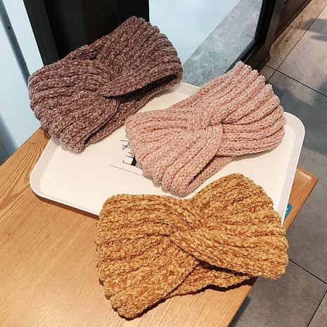 Fashion new  wide-brimmed pure color knitted wool sweet go out to keep warm headband NHDQ258191's discount tags