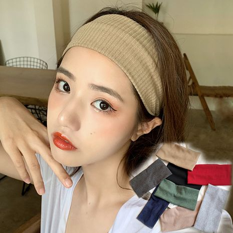 Korea wide-sided wild wash autumn pure color sports knitted headband for women NHDQ258192's discount tags