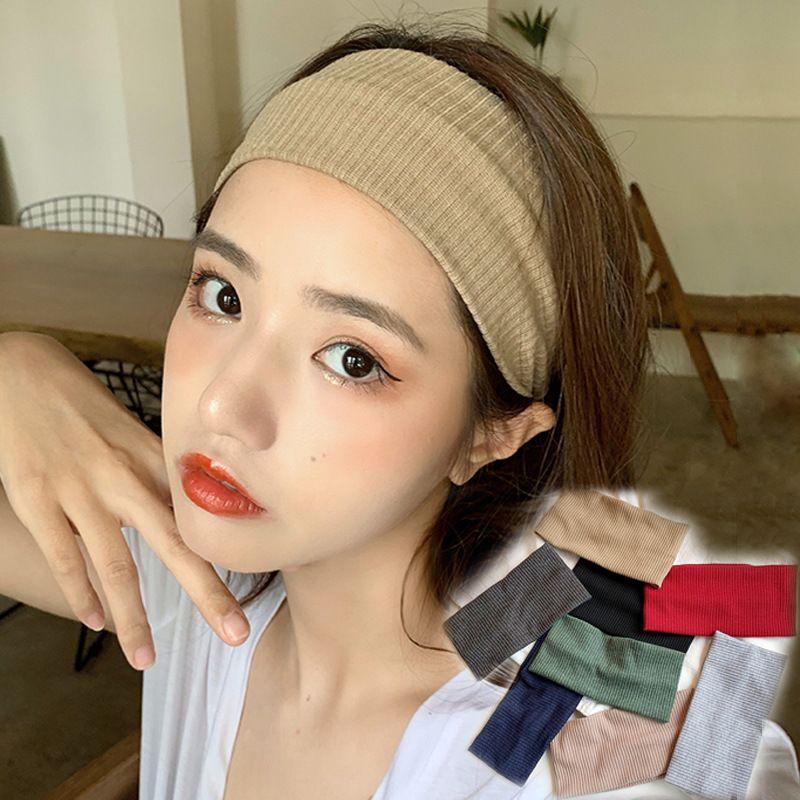 Bandeau tricot de sport de couleur pure d39automne de lavage sauvage  larges cts de Core pour les femmes NHDQ258192