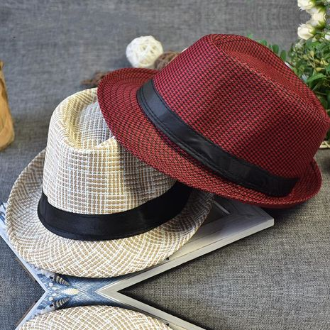 New men's black rope straw hat NHXO193726's discount tags