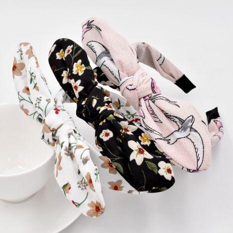 Korea cute rabbit  flower fabric bow tie headband  wholesale NHCL258252's discount tags