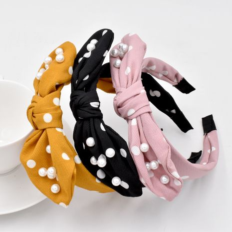 polka dot pearl simple fabric knotted bow head buckle rabbit ears hair band wholesale NHCL258256's discount tags