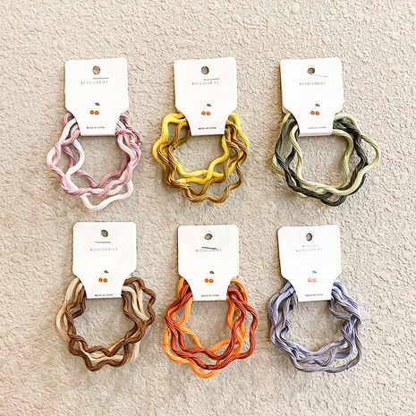 four-piece rubber band head rope Korean wavy hair rope high elasticity seamless hair tie wholesale NHNA258277's discount tags