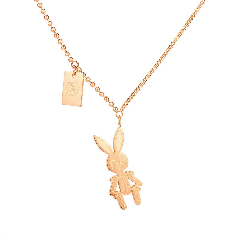 new Korean simple titanium steel rose gold plated rabbit clavicle chain pendant for women NHOP258280