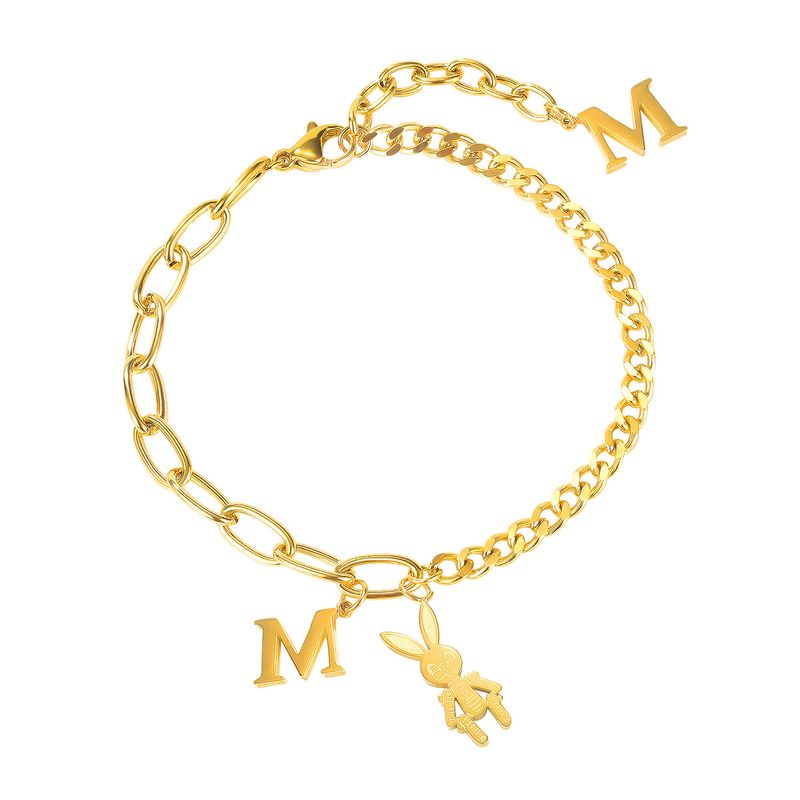 fashion girls stitching letter M rabbit titanium steel bracelet for women NHOP258284