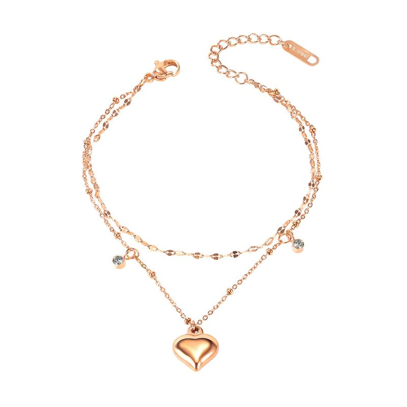 simple stylish double layer love-shaped titanium steel  sweet peach heart  bracelet NHOP258287