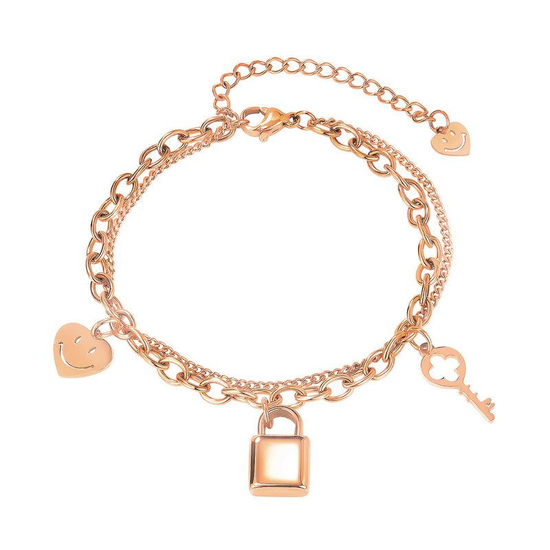 fashion smiley face key titanium steel niche versatile bracelet for women jewelry NHOP258290