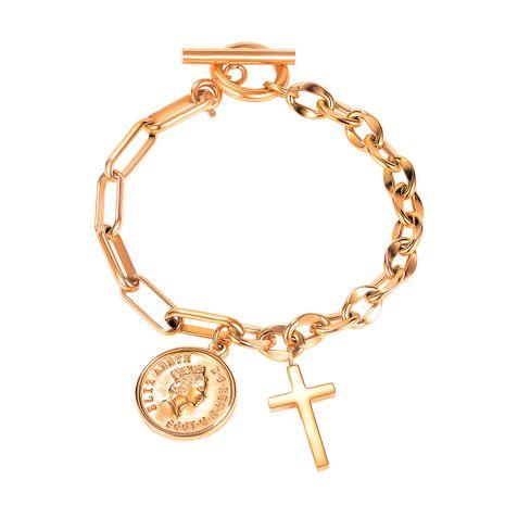 Niche rétro croix OT boucle simple portrait pièce de monnaie bracelet en acier titane pour les femmes NHOP258291's discount tags