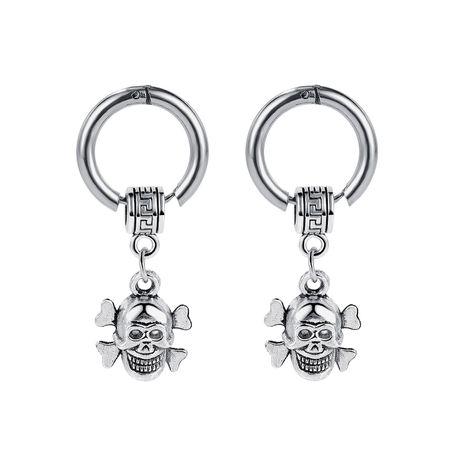 Fashion trendy wild titanium steel skull men's simple street hip-hop style student earrings NHOP258295's discount tags