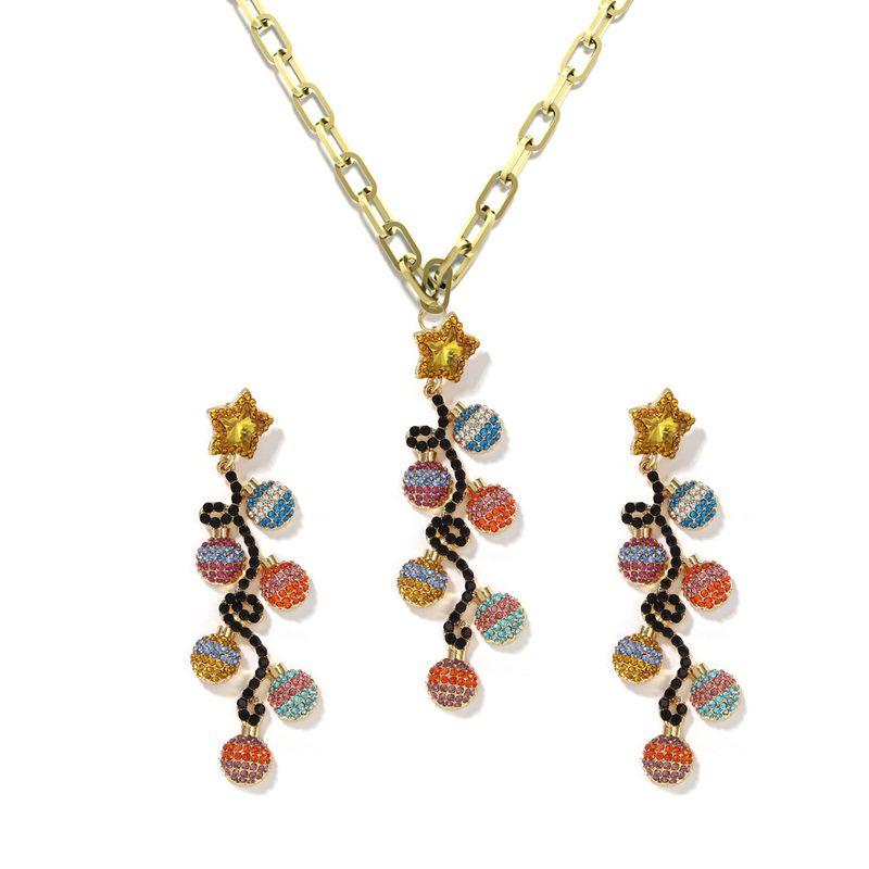 wholesale all-match alloy diamond-studded Christmas gift irregular small lantern necklace earrings set for women NHJQ258298