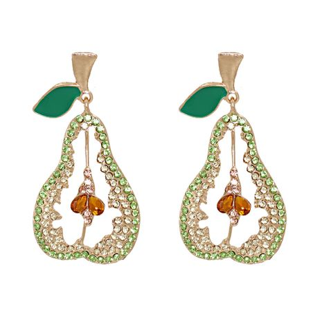 new fashion alloy full diamond fruit pear earrings for women hot-saling wholesale NHJJ258309's discount tags