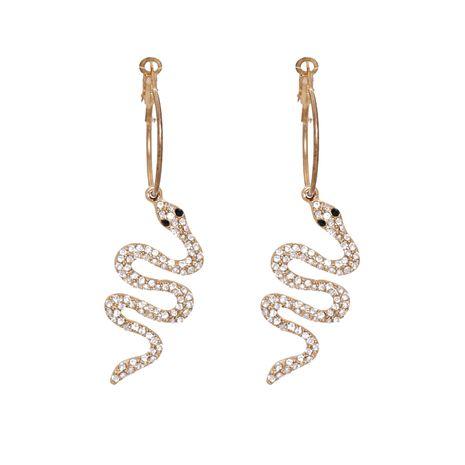 Pendientes de aleación exagerados de serpiente animal con diamantes de imitación de nueva moda NHJJ258310's discount tags