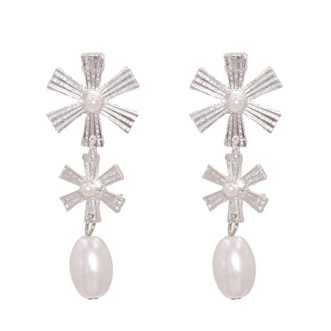 new trend fashion wild ethnic style flower drop pearl alloy earrings  NHJJ258313's discount tags