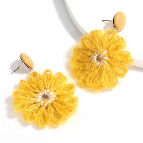 Nuevos pendientes de flores de hilo de algodón de cuero artificial al por mayor NHJE258322's discount tags
