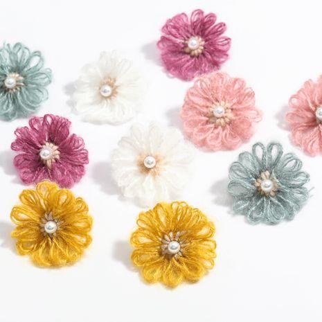 Nuevos pendientes de flores de hilo de algodón de perlas de imitación al por mayor NHJE258325's discount tags