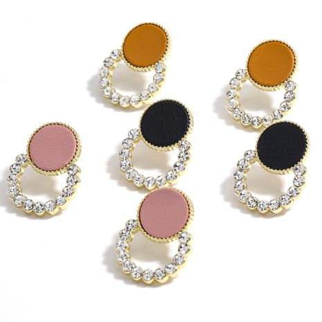 Creative Round Alloy Diamond Rhinestone Artificial Leather Silver Needle Earrings wholesale NHJE258326's discount tags