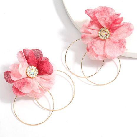 Nuevos pendientes de aleación de flores de tela al por mayor NHJE258328's discount tags