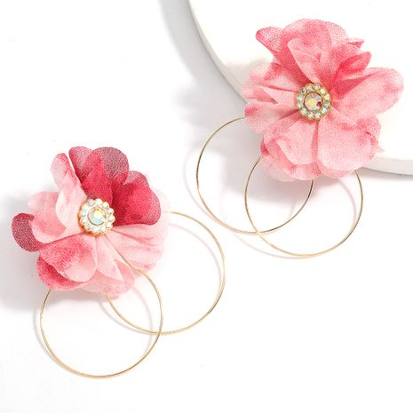 new fabric flower alloy earrings wholesale NHJE258328's discount tags