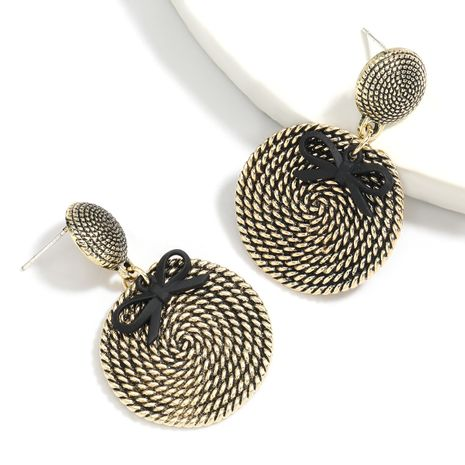 Creative spiral convex woven multi-layer alloy retro earrings wholesale NHJE258329's discount tags