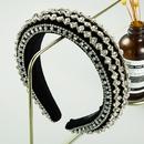 rhinestone headband gold velvet sponge wide brim full diamond headband wholesale NHLN258332