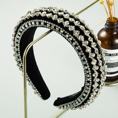rhinestone headband gold velvet sponge wide brim full diamond headband wholesale NHLN258332's discount tags
