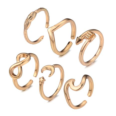 hot sale geometric alloy ring six-piece leaf ring set wholesale NHOA258337's discount tags