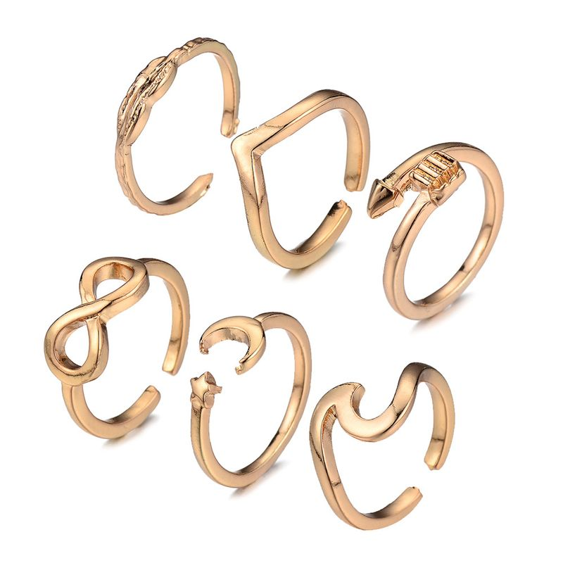 hot sale geometric alloy ring six-piece leaf ring set wholesale NHOA258337
