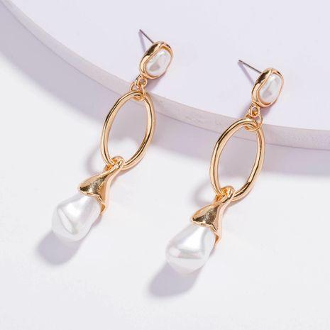 Nuevos pendientes largos de perlas geométricas simples coreanas al por mayor NHAN258344's discount tags
