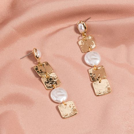 hot-selling fashion simple metal special-shaped pearl stitching square tassel long earrings wholesale NHAN258345's discount tags