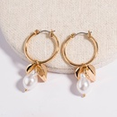 fashion exaggerated hot new baroque pearl leaf hoop earrings wholesale NHAN258346