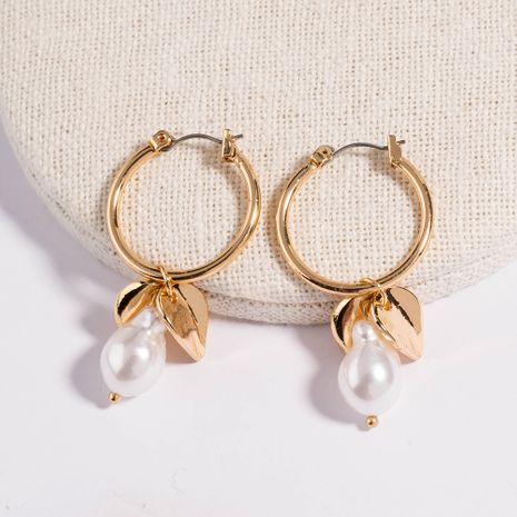 fashion exaggerated hot new baroque pearl leaf hoop earrings wholesale NHAN258346's discount tags