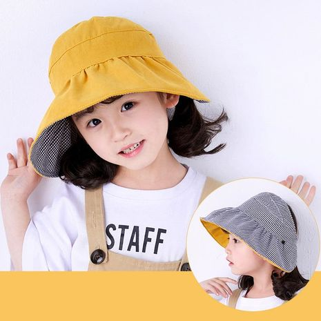 Fashion solid color lattice wild casual sunshade fisherman hat NHXO124156's discount tags