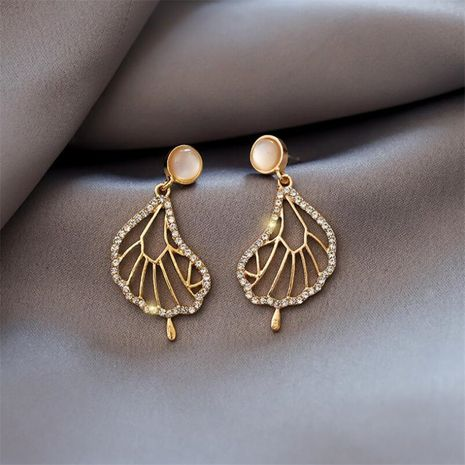 New trend  literature and art abstract lotus leaf  French earrings  NHOT258350's discount tags