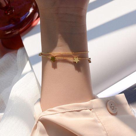 Bracelet en acier au titane étoile à cinq branches et à cinq branches en acier au titane pour femme NHOK258166's discount tags