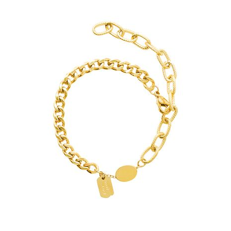Fashion retro exaggerated golden titanium steel 18K hypoallergenic non-fading bracelet  NHOK258155's discount tags