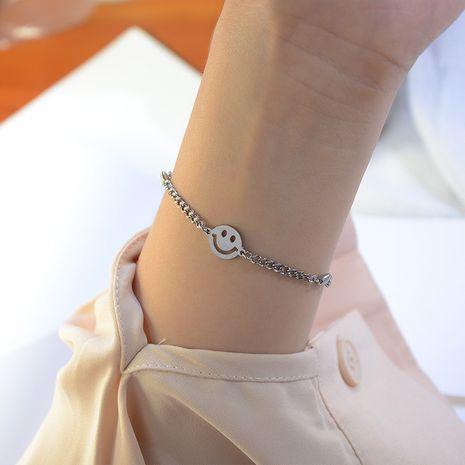 niche simple versatile smiley face titanium steel 18K real gold bracelet  NHOK258164's discount tags